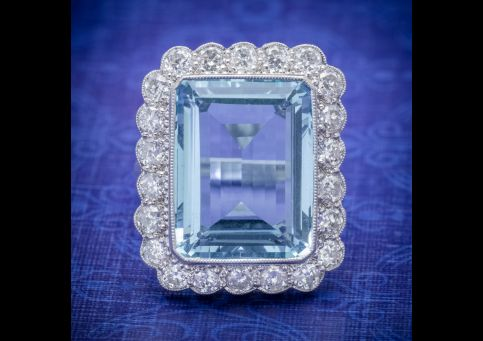 AQUAMARINE DIAMOND COCKTAIL RING 16CT AQUA 2.30CT DIAMOND 18CT WHITE GOLD  cover