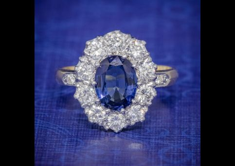SAPPHIRE DIAMOND CLUSTER RING 18CT GOLD PLATINUM 2CT SAPPHIRE 1.10CT DIAMOND cover