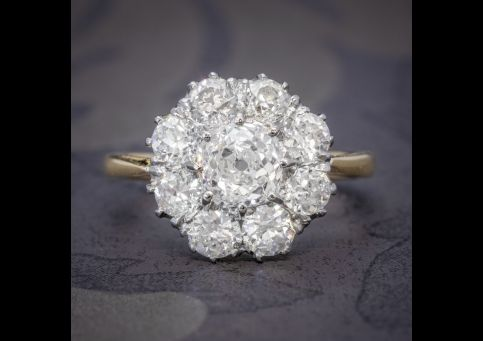 OLD CUSHION CUT DIAMOND CLUSTER RING 18CT GOLD PLATINUM 3CT OF DIAMOND cover