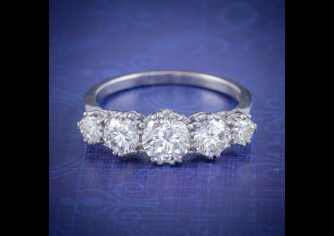 ANTIQUE FIVE STONE DIAMOND RING 18CT WHITE GOLD 2CT DIAMOND CIRCA 1920 cover