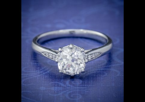 DIAMOND SOLITAIRE ENGAGEMENT RING PLATINUM 1.24CT OLD CUT DIAMOND CIRCA 1918 CERT cover