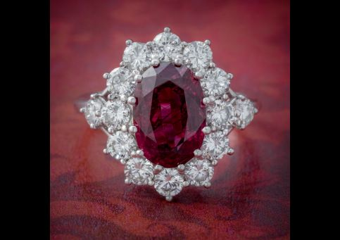 VINTAGE RUBY DIAMOND CLUSTER RING NATURAL 3.20CT RUBY 2.50CT DIAMONDS 18CT WHITE GOLD CERT cover