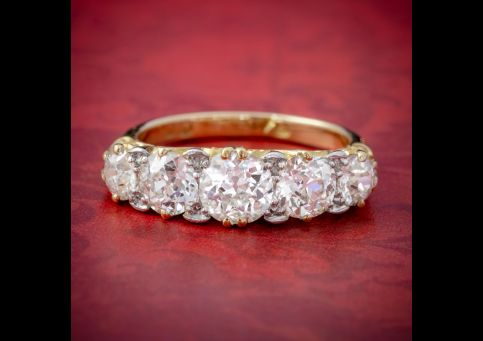 ANTIQUE VICTORIAN DIAMOND FIVE STONE RING 18CT GOLD 3.09CT DIAMONDS CIRCA 1900 CERT cover