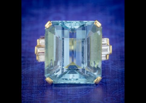 VINTAGE AQUAMARINE DIAMOND COCKTAIL RING 18CT GOLD 28CT EMERALD CUT AQUA cover