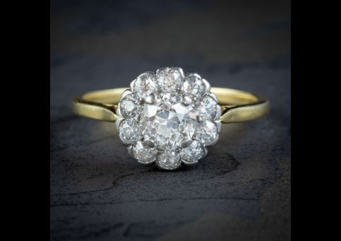 ANTIQUE EDWARDIAN OLD CUT DIAMOND CLUSTER RING 18CT GOLD 1.65CT OF DIAMOND CIRCA 1901 cover