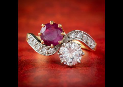 ANTIQUE EDWARDIAN FRENCH 0.90CT RUBY AND DIAMOND TWIST RING PLATINUM 18CT GOLD CIRCA 1901 COVER