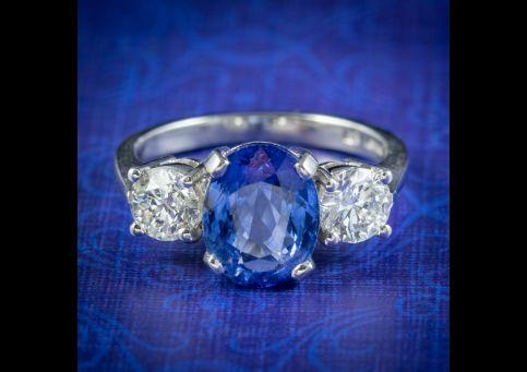Sapphire-Diamond-Trilogy-Ring-Platinum-3.38ct-Sapphire-1.20ct-Of-Diamond-cover