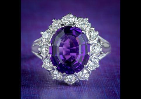 Amethyst-Diamond-Cluster-Ring-Platinum-4ct-Amethyst-1.30ct-Of-Diamond-cover