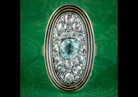 Antique-Georgian-Diamond-Aquamarine-Mourning-Ring-Mary-Antrobus-Dated-1791-COVER