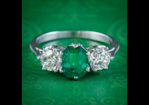 Antique-Edwardian-Emerald-Diamond-Ring-1.19ct-Colombian-Emerald-With-Cert-cover