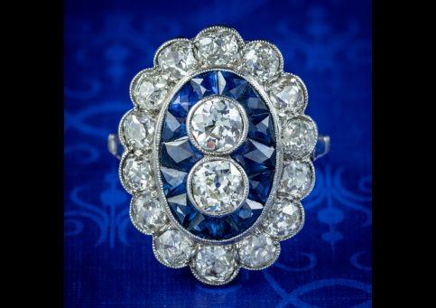 Art-Deco-French-Sapphire-Diamond-Ring-3.20ct-Of-Diamond-Circa-1920-Boxed-COVER