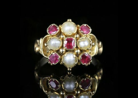 ANTIQUE GEORGIAN RUBY PEARL RING 18CT GOLD CIRCA 1800 front view