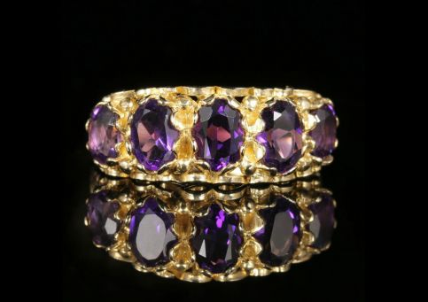 Amethyst Five Stone Gold Ring 1.70ct Amethyst 9ct Gold front view