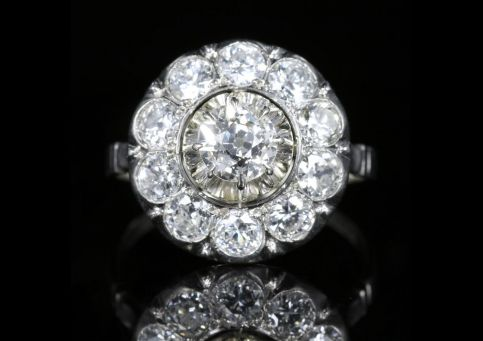 Antique Edwardian Diamond Cluster Ring 18ct White Gold 2.60ct front view