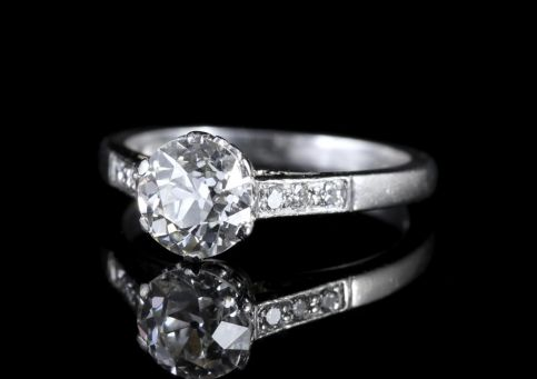 Antique Edwardian Platinum 1.58ct Solitaire Diamond Ring Circa 1915