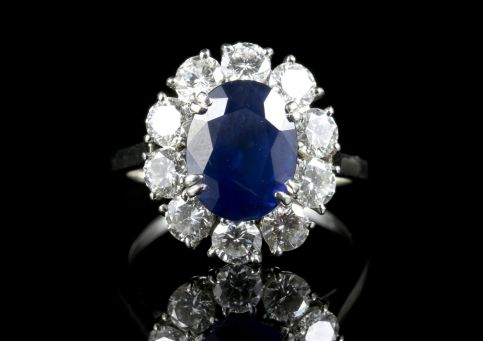 Edwardian all Platinum French 3ct Sapphire & 1.50ct Old Cut Diamond Ring