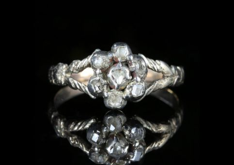 Antique Georgian Diamond Cluster Ring 18ct Gold Circa 1800 front view