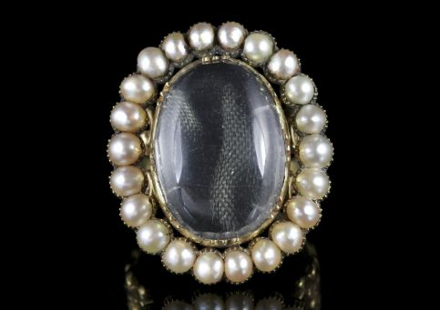 Antique Georgian Large Rock Crystal Pearl Ring 18ct Gold