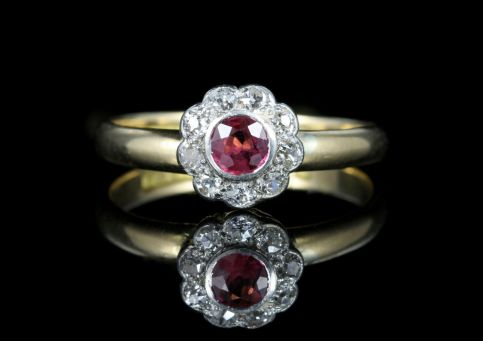 Antique Ruby Diamond Engagement Ring 18ct Gold Dated Chester 1903 front view
