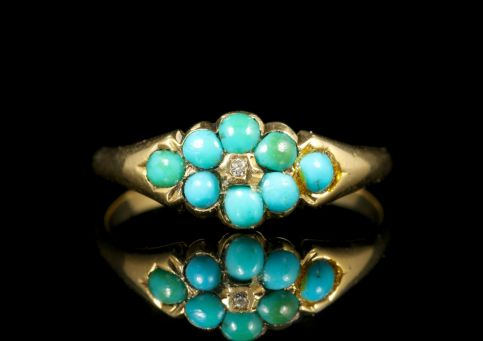 Antique Turquoise Diamond Ring 18ct Gold front