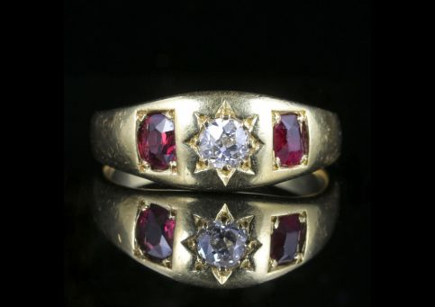Antique Victorian Diamond Ruby Trilogy Ring 18ct Yellow Gold front view