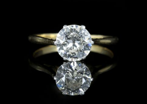 Antique Victorian Diamond Solitaire Ring 1.60ct front view