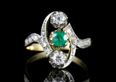 Antique Victorian Emerald and Diamond Ring Circa 1900 FRONT
