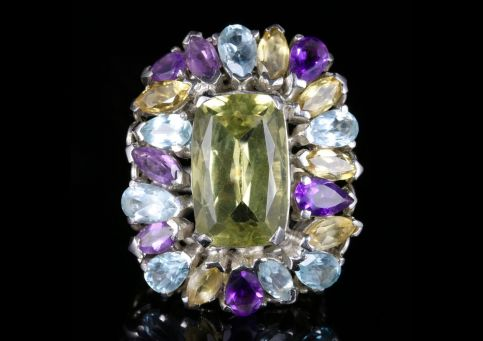 Antique Victorian Large Gemstone Ring Over 25cts of Gemstones front view