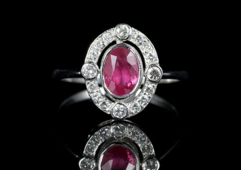 Ruby and Old Cut Diamond Ring 18ct White Gold 1ct Ruby front view