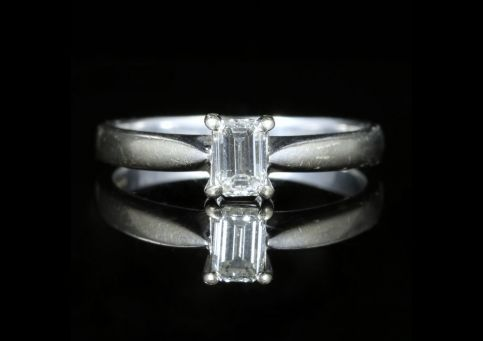 Diamond Engagement Ring Emerald Cut 18ct White Gold front view