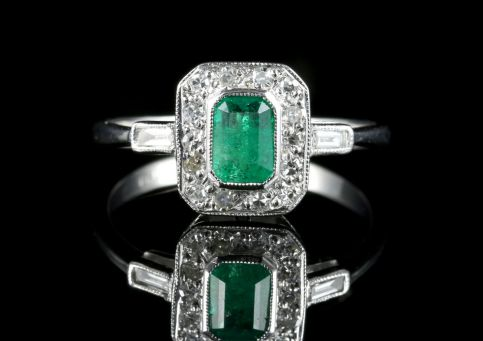 Emerald Diamond Deco Engagement Ring 18ct White Gold front view