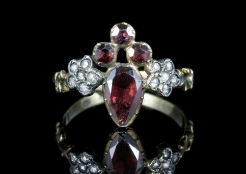 Georgian Fleur De Lis Garnet and Rose Cut Diamond Ring Front