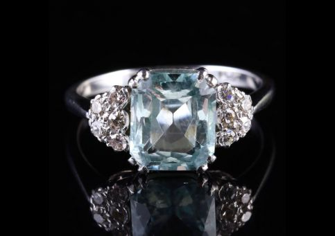Antique Art Deco Aquamrine And Diamond Ring Circa 1920 Front View