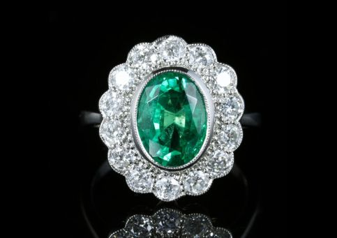 Emerald Diamond Cluster Ring All Platinum 3.50ct Emerald Front View