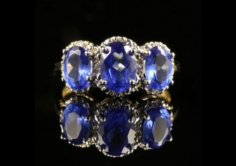 SAPPHIRE AND DIAMOND TRILOGY RING 9CT GOLD