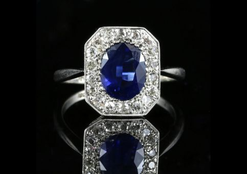 ANTIQUE ART DECO 3CT SAPPHIRE DIAMOND RING 18CT & PLATINUM