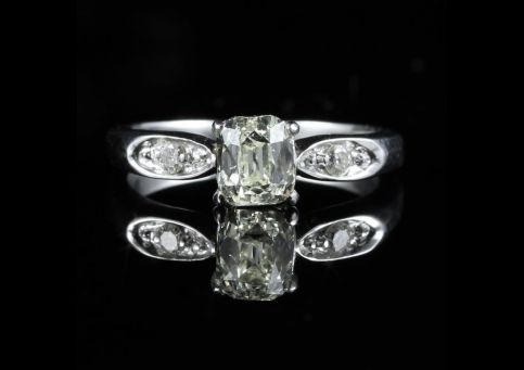 ART DECO 1.27CT OLD CUSHION CUT DIAMOND PLATINUM RING