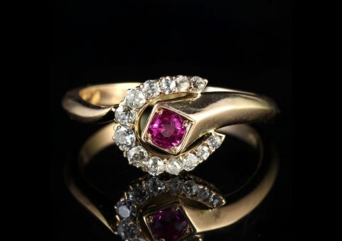 Victorian Ruby Diamond Horse Show Ring 15ct Gold front