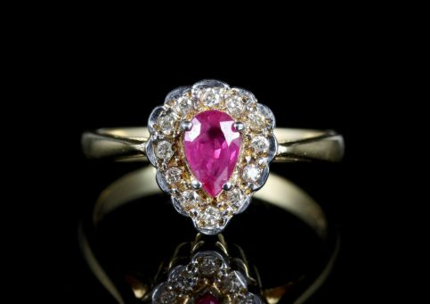 Ruby Diamond Ring 9ct Gold Cluster Ring