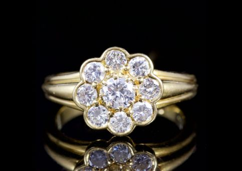 Antique Victorian Diamond Cluster Ring 18ct Engagement Ring Circa 1900