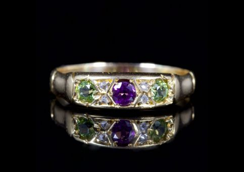 ANTIQUE VICTORIAN RING SUFFRAGETTE RING 15CT CIRCA 1900