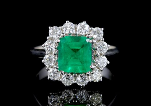 Antique Art Deco Emerald Diamond Ring 2ct Emerald Plat Circa 1920