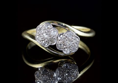 Antique Edwardian Twist Diamond Ring 18ct Plat Circa 1915