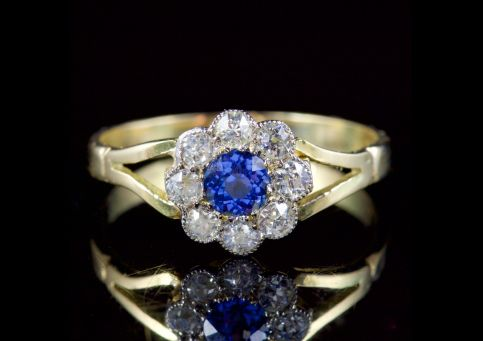 Antique Victorian Sapphire Diamond Ring 18ct Gold Circa 1900