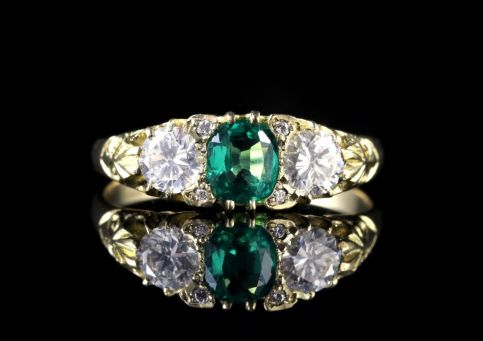 Antique Victorian Emerald Diamond Ring 18ct Circa 1880