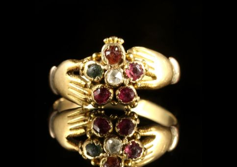 Georgian Fede Ring Spells Regard Childs Ring 18ct Gold Circa 1780