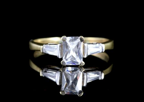Deco Emerald Cut Paste 9ct Ring Circa 1920