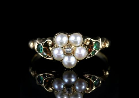 Georgian Emerald Diamond Pearl Ring 18ct Circa 1800