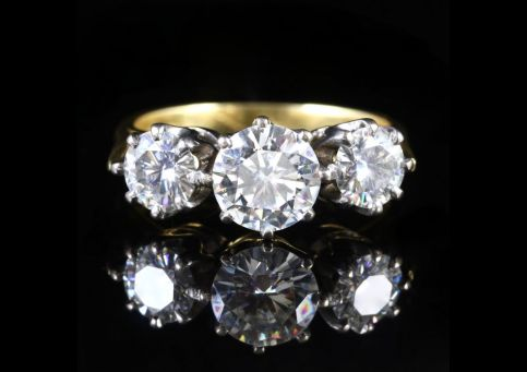 Moissanite Diamond Trilogy 18ct Gold Ring