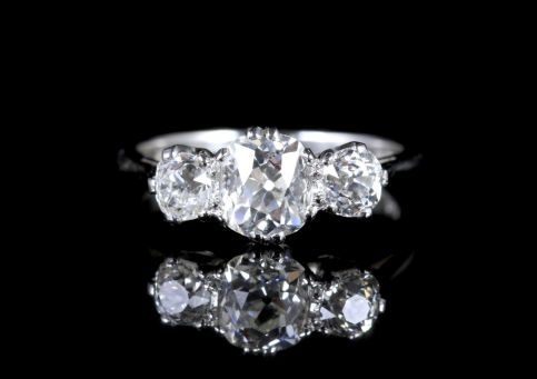Antique Victorian Diamond Trilogy Ring Platinum Circa 1900